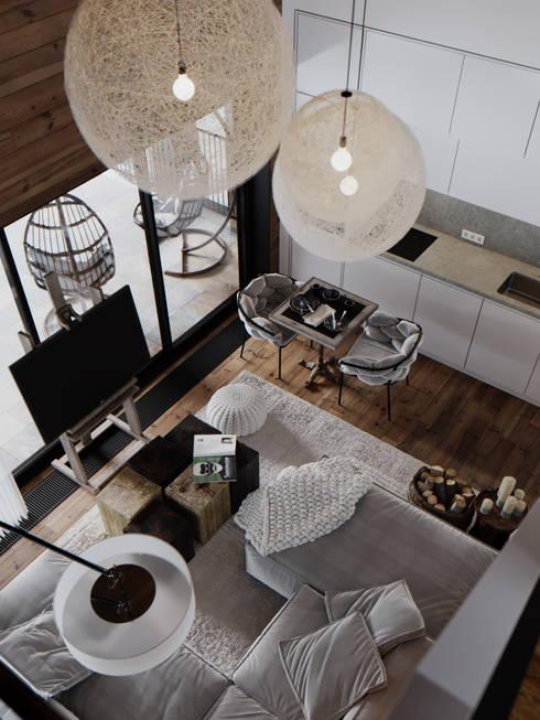 Загородная резиденция шале Ak Bulak 03: Гостиная в . Автор – ATO Studio