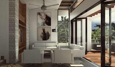 CASA IROTAMA: Salas de estilo moderno por Cabas/Garzon Arquitectos
