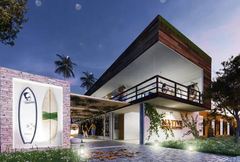 Native Surf Hostel: Casas de estilo moderno por O11ceStudio
