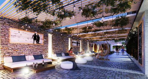 Native Surf Hostel: Salas de estilo moderno por O11ceStudio