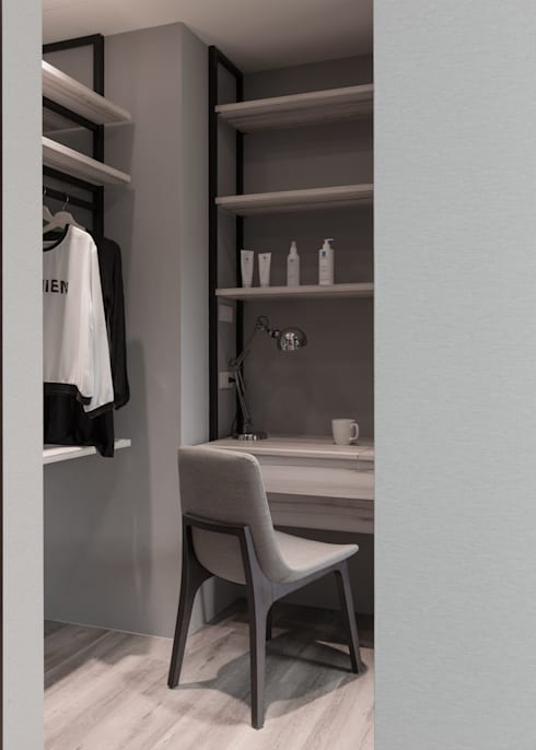 冷調灰色系混搭建材的舒適家居:   by 苑茂室內設計工作室