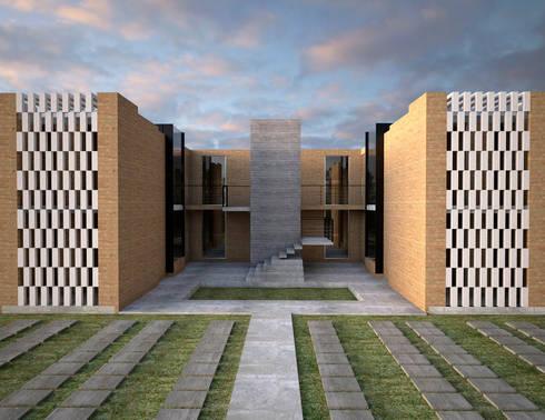 fachada principal : Casas de estilo minimalista por Element+1 taller de arquitectura