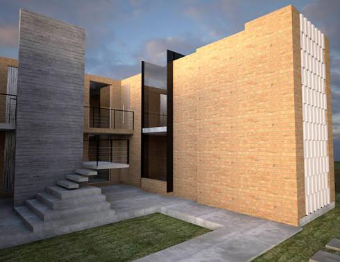 fachada lateral : Casas de estilo minimalista por Element+1 taller de arquitectura