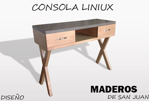 Consola liniux: Hogar de estilo  por Maderos de san juan