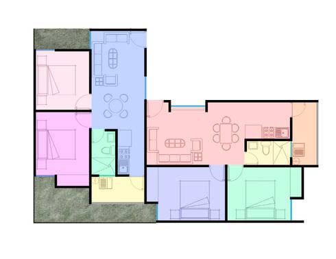 planta arquitectónica : Casas de estilo minimalista por Element+1 taller de arquitectura