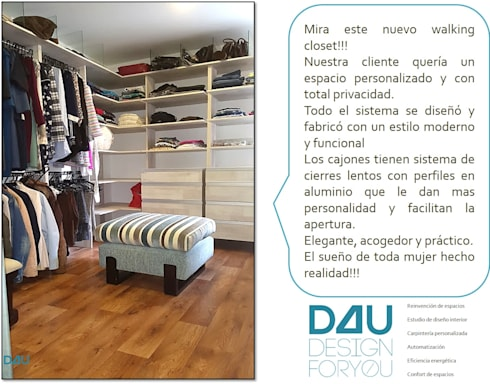 Diseño de walking closet:  de estilo  por Design For You SAS