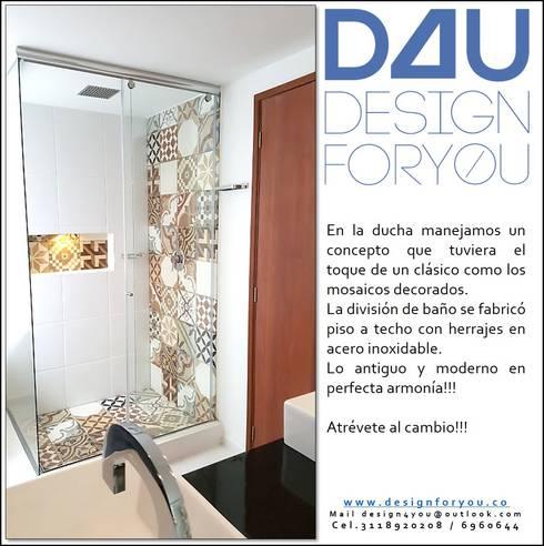 Proyecto remodelación de baño:  de estilo  por Design For You SAS