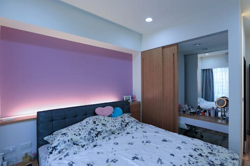 超實用機能宅:  臥室 by 微自然室內裝修設計有限公司