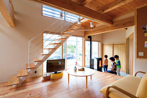 自然エネルギーで心地よく暮らす: 株式会社 建築工房零が手掛けたリビングです。