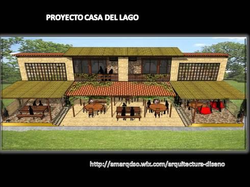 """Proyecto """"Casa del lago:  de estilo  por A.M. ARQUITECTURA +DISEÑO"""