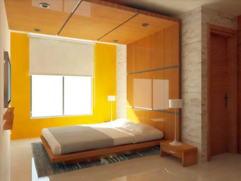 AREA DE CAMA: Recámaras de estilo minimalista por DLR ARQUITECTURA/ DLR DISEÑO EN MADERA