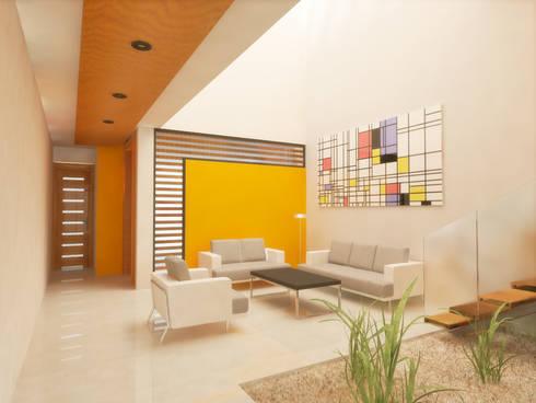 SALA DOBLE ALTURA: Salas de estilo minimalista por DLR ARQUITECTURA/ DLR DISEÑO EN MADERA