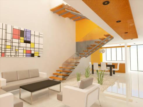 SALA/ESCALERAS: Salas de estilo minimalista por DLR ARQUITECTURA/ DLR DISEÑO EN MADERA