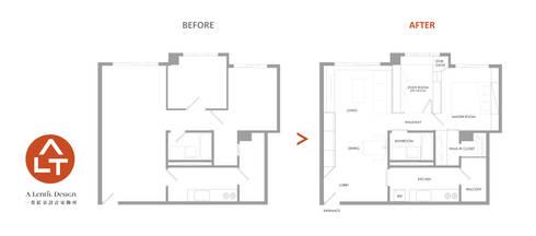 改造前後平面圖:   by 一葉藍朵設計家飾所 A Lentil Design