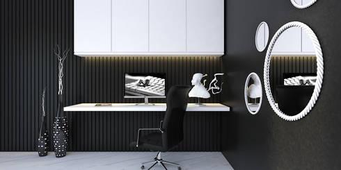 black and white bedroom: modern Bedroom by KARU AN ARTIST