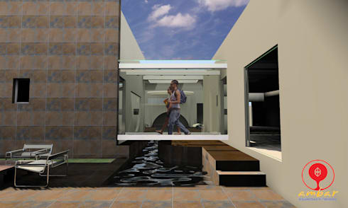 CASA DE LOS PATIOS : Terrazas de estilo  por SG Huerta Arquitecto Cancun