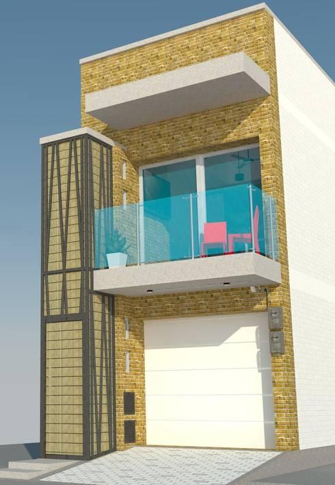 Fachada frontal: Casas de estilo moderno por TALLER 9, ARQUITECTURA