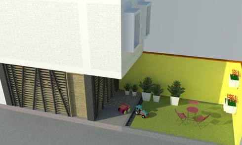 Patio trasero.: Jardines de estilo moderno por TALLER 9, ARQUITECTURA