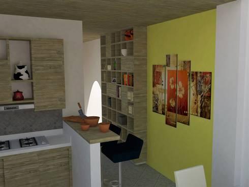 Vista de cocina y mueble de biblioteca.: Cocinas de estilo moderno por TALLER 9, ARQUITECTURA