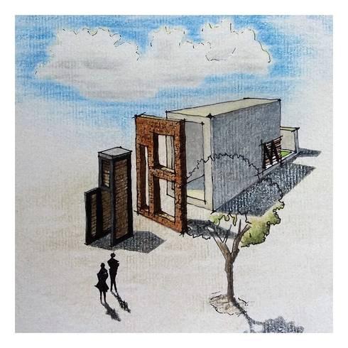 Boceto.: Casas de estilo moderno por TALLER 9, ARQUITECTURA