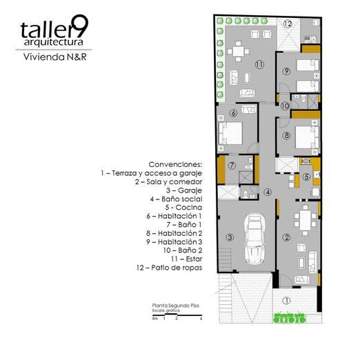 VIVIENDA <q>N&R</q>: Casas de estilo moderno por TALLER 9, ARQUITECTURA