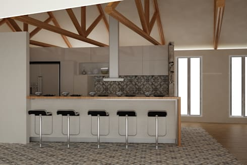 CASA VILLA DE LEYVA: Cocinas de estilo ecléctico por santiago dussan architecture & Interior design