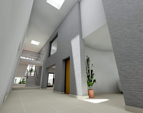 Flying Canopy House:  Corridor & hallway by Nzuza Architects