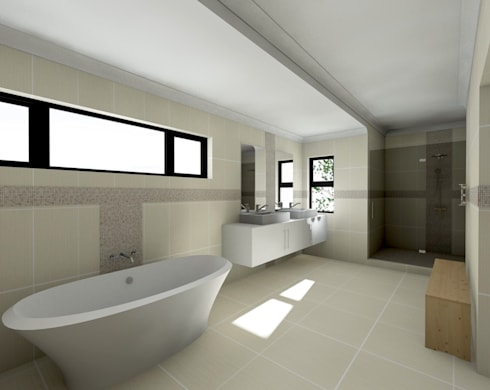 Flying Canopy House: modern Bathroom by Nzuza Architects