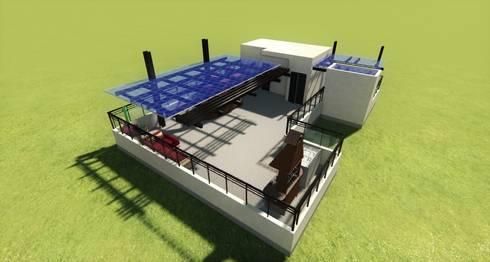 Ante proyecto 3D Twinmotion Real Time- Terraza CDMX: Terrazas de estilo  por Arqos Arquitectos