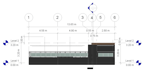 Alzado Lateral Izq- terraza CDMX: Terrazas de estilo  por Arqos Arquitectos