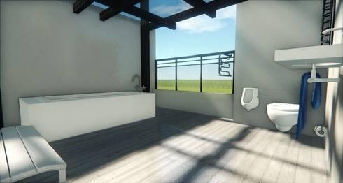 Prueba Render Int -Terraza CDMX: Terrazas de estilo  por Arqos Arquitectos