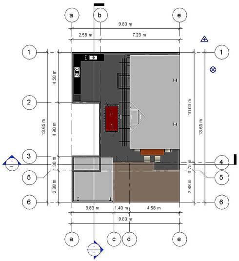 Planta de Conjunto- Terraza CDMX: Terrazas de estilo  por Arqos Arquitectos
