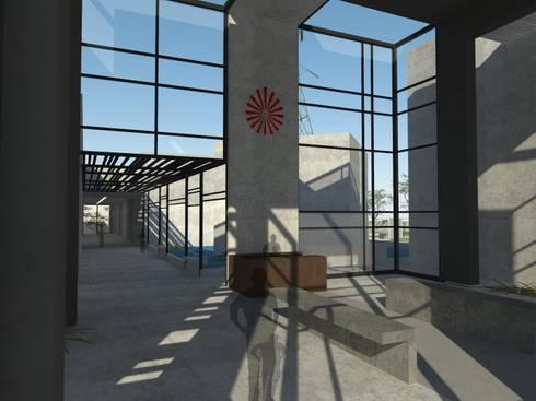 Inner Space at Gachibowli, Hyderabad—Information Center: minimalistic Living room by 29 studio