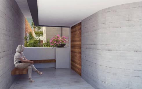 Pórtico de acceso: Pasillos y recibidores de estilo  por 75 Arquitectura