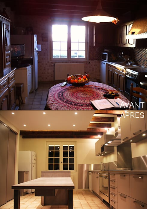 Rénovation d'une cuisine au style rustique et moderne:  de style  par Koya Architecture Intérieure