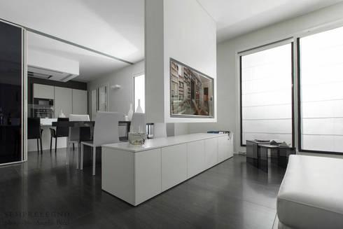 Interni di design loft moderno arredato su misura con for Mobile sala design