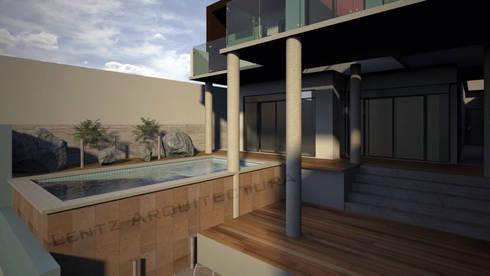 Área de Alberca: Albercas de estilo moderno por Lentz Arquitectura Diseño y Construcción