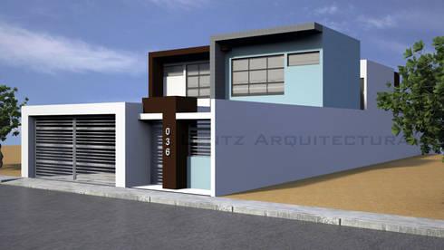 Fachada Lateral 2: Casas de estilo moderno por Lentz Arquitectura Diseño y Construcción