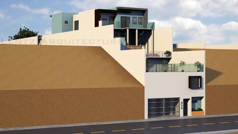 Fachada Lateral 1.1: Casas de estilo moderno por Lentz Arquitectura Diseño y Construcción