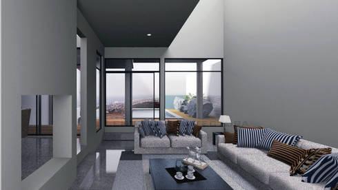 Vista Sala : Salas de estilo moderno por Lentz Arquitectura Diseño y Construcción