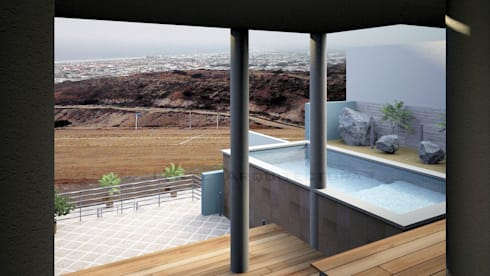 Area de Alberca y Terraza: Albercas de estilo moderno por Lentz Arquitectura Diseño y Construcción