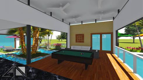 sala de juegos (billar) y sala de estar, depósito y bar.:  de estilo  por ARQUITECTOnico
