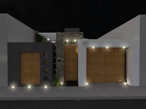 Fachada a la Calle: Garajes de estilo moderno por Arqternativa