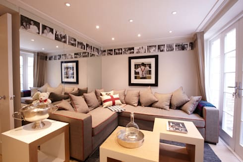 Modern colonial London home: colonial Media room by Kim H Interior Design