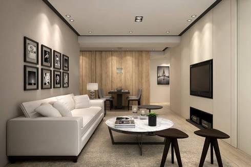 3D示意圖:  客廳 by 成綺空間設計
