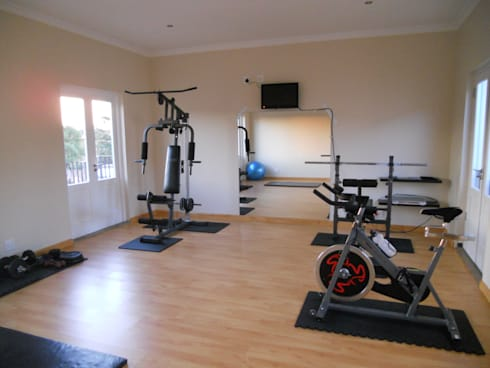 French House: mediterranean Gym by SOJE Interior, Design and Decor PTY (Ltd)