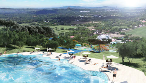Paraiso Aquapark: Piscinas de estilo tropical por Arquitectura y Diseño Digital