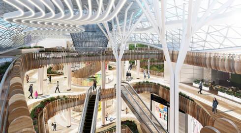 Centro Comercial : Pasillos y vestíbulos de estilo  por Arquitectura y Diseño Digital
