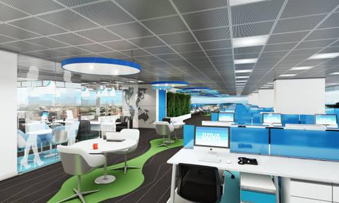 Oficinas Bogotá: Pasillos y vestíbulos de estilo  por Arquitectura y Diseño Digital