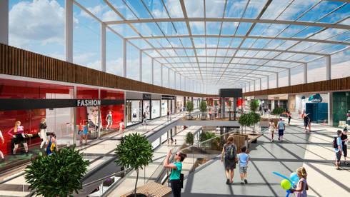 Centro Comercial SierraFlor: Pasillos y vestíbulos de estilo  por Arquitectura y Diseño Digital